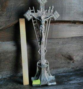 Крест католический Европа нач 20 в, белый металл