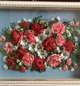 Картина «Розы и ромашки», вышитая лентами