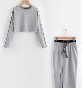 Костюм юбка+укорочённая кофта