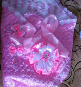 Конверт -одеяло с бантом на выписку