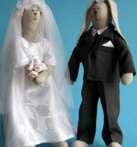 Зайцы Жених и Невеста (куклы набор 2 шт / Тильда)