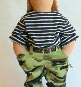 Заяц Военный 39см (кукла интерьерная / Тильда)