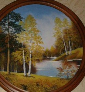 Картина овальная размер 48 см