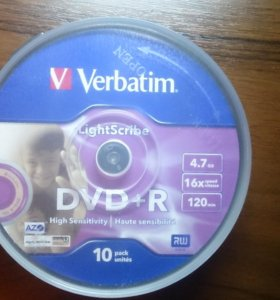 Диск DVD+R Verbatim 4.7Gb 16x Cake Box (10 шт)