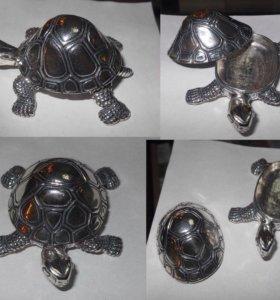 Статуэтка черепаха, мини шкатулка, серебро 925