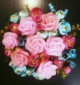 Букет с розами из мыла