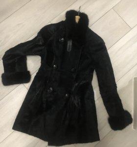 Натуральное пальто с мехом норки