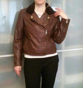 Куртка кожанная косуха(коричневая) 46 р.