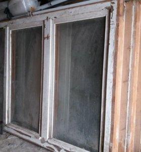 Окна трехстворчатые деревянные б.у. в хорошем сост