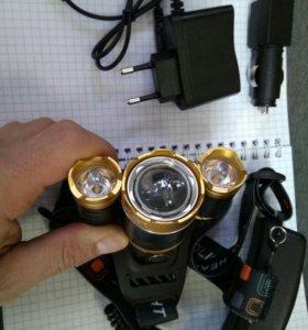 Новый налобный Сверх-яркий LED аккум фонарь.