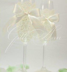 Свадебный набор ( бокалы,папка, подушечка)