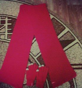 шарф с перчатками