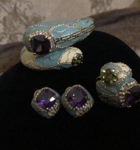 Комплект,браслет, серьги,кольцо