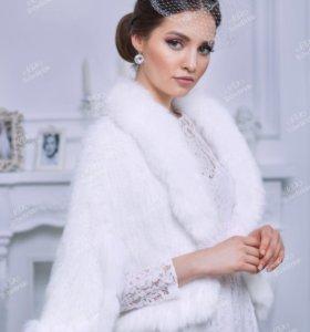 Белая накидка-болеро из натурального меха
