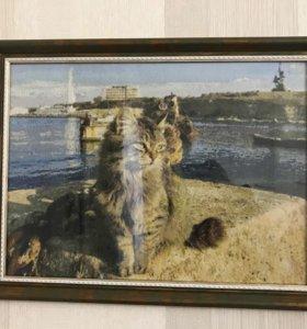 Картина вышитая крестом (в рамке, стекло)