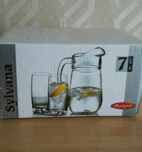 Графин и 6 стаканов (новые)