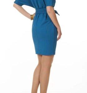 Бирюзовое платье с поясом Zolla S