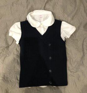 Школьная форма , жилетка с блузкой .