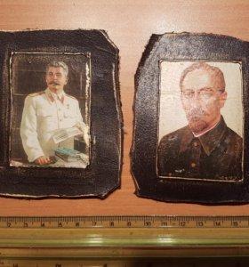 Стилизованные портреты И.В.Сталина и Дзержинского