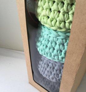 Подарочный набор корзинок из трикотажной пряжи