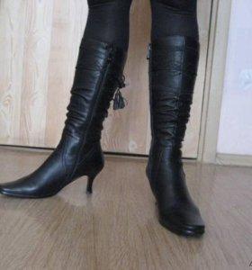 Демисезонные сапоги кожаные