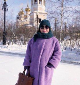 Фиолетовая лаванда Шуба пальто овчина шерсть