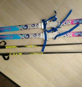Лыжи детские 110см с палками 100см