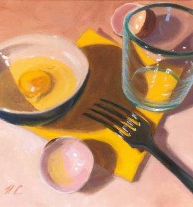 Картина маслом натюрморт, завтрак