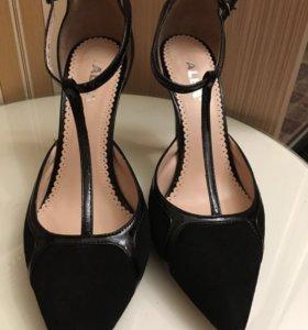 Туфли натуральная замша + лак кожа 40 р