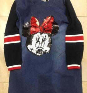Платье джинсовое с карманами Микки Маус