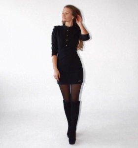 Чёрное платье, стиль милитари