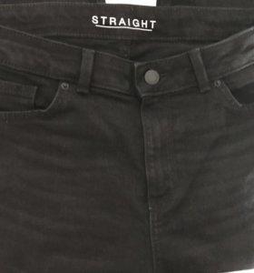 Женские чёрные брюки из плотного денима