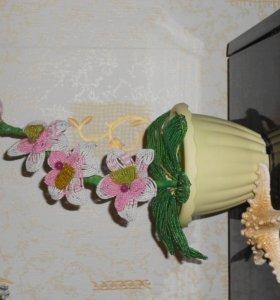 Розы и дерево и Лилии из бисера