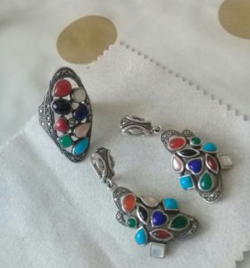 Серебрянный комплект с натуральными камнями18,5 р