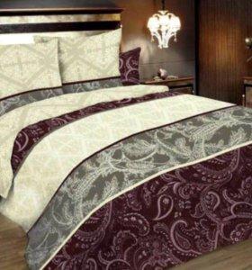 Постельное белье (двухспальное с евро простыней)