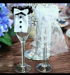 Украшения на свадебные бокалы