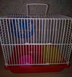 Клетка для хомяка+колесо+поилка+домик