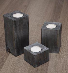 Подсвечник деревянный 3шт