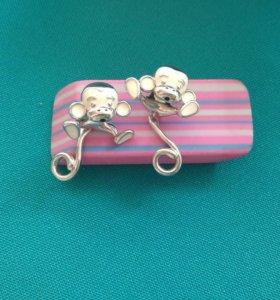 Сережки серебряные с эмалью
