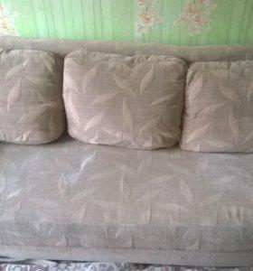 Раскладной диван + кресло б/у