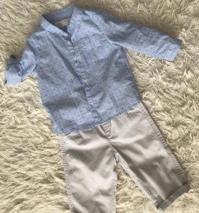 Голубая рубашка Zara BabyBoy 74 размер