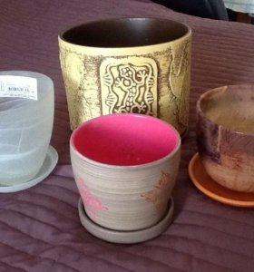 Горшочки для цветов, керамика и стекло