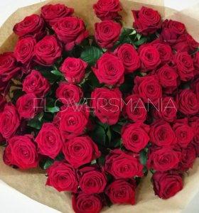 51 роза красная в крафте с доставкой
