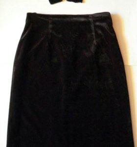 Черная бархатная юбка+подарок