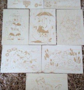 Дощечки с рисунками для выжигания.