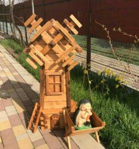 Мельница садовая декоративная из дерева (комплект)
