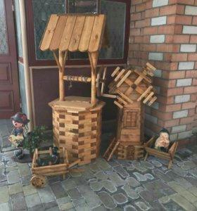 Комплект изделий в сад из дерева колодец мельница