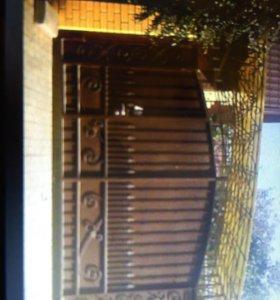Ворота распашные с калиткой