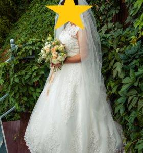 Свадебное платье+кольца+пояс