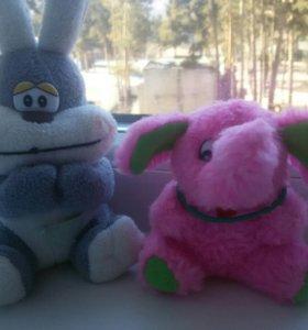 Мягкие игрушки зайка и слоненок